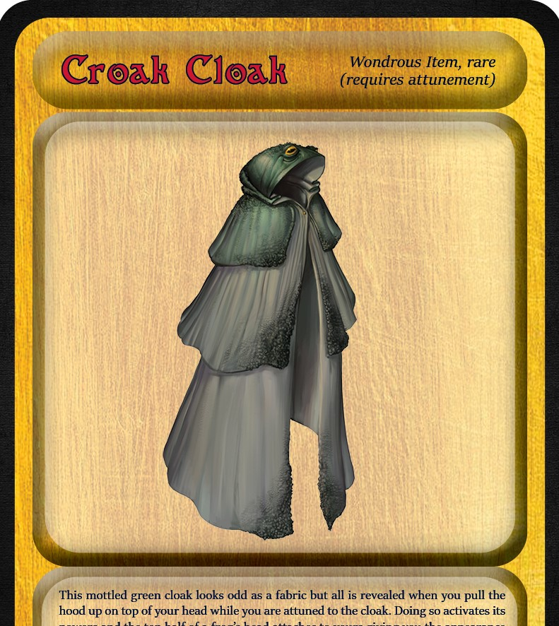 5E D&D magic item croak cloak