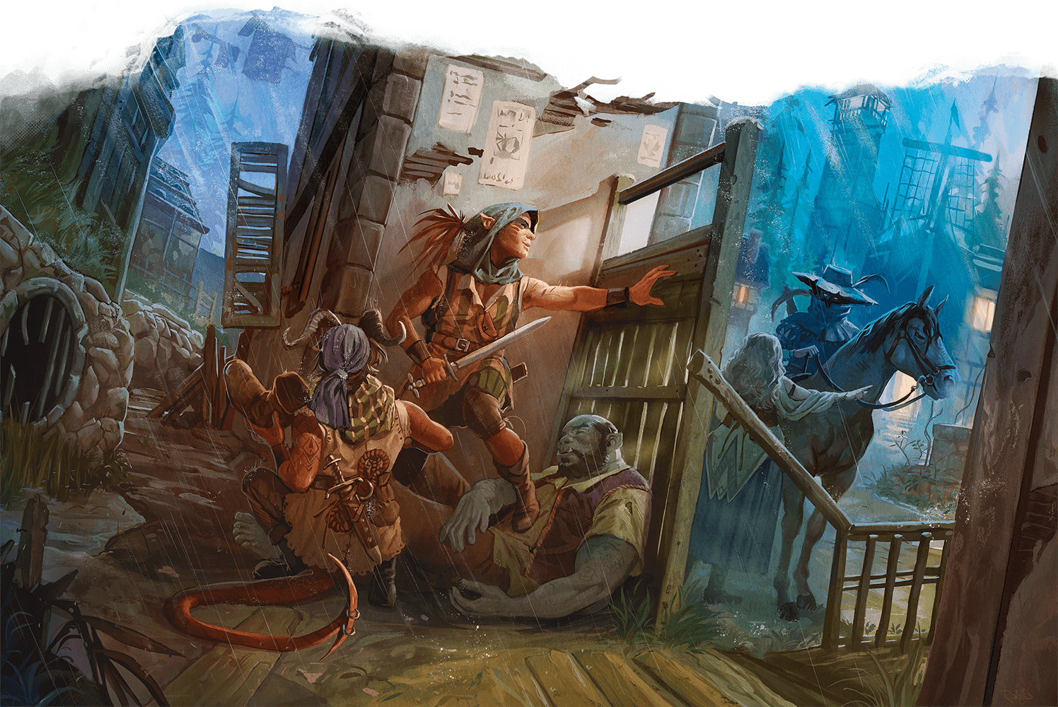 5E D&D Explorers Guide to Wildemount on the streets of Shadycreek Run behind cover